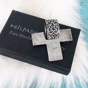 Silpada Oxidized 925 Cross Pendant S1514 Filigree